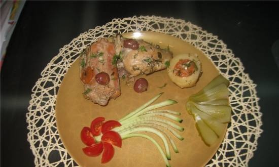 Braised rabbit with chestnuts (slow cooker)