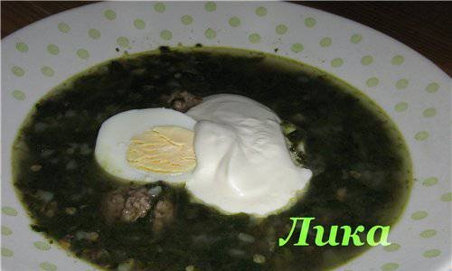 Spinach soup with buckwheat
