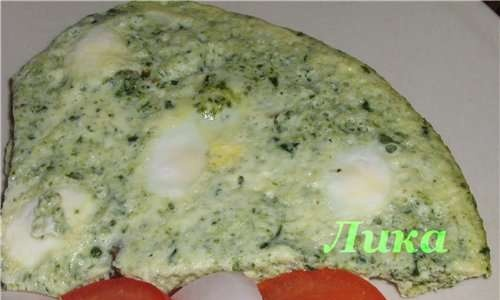 Quail eggs in spinach omelet