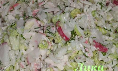 Crab stick salad with rice and Chinese cabbage