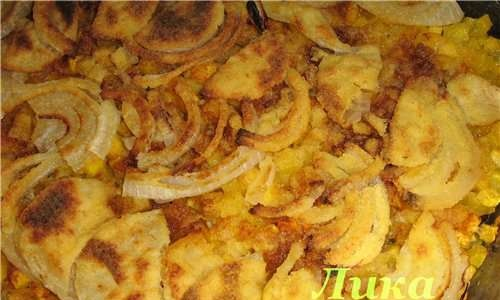 Baked pumpkin with onions