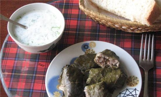 Tolma - stuffed cabbage rolls with meat and rice in grape leaves