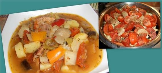 Thick soup (stew) of cold cuts with vegetables
