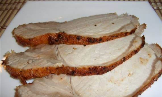 Pork loin with red pepper