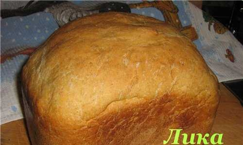 Wheat bread with flax flour in a bread maker