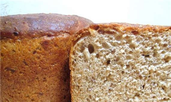 Wheat bread with whole grain and sourdough cottage cheese