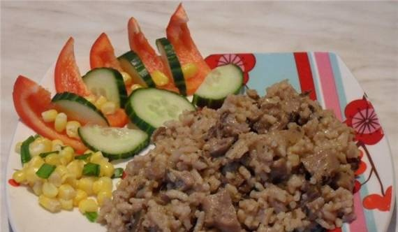 Pilaf with oyster mushrooms