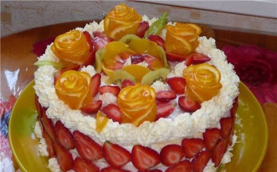 """Cake """"Curd and strawberry tale"""""""