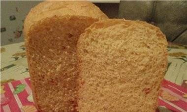Wheat bread with cheese and chili (bread maker)