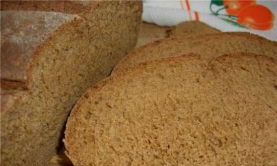 Whole grain bread with rye flour and semolina