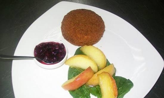 Deep-fried camembert with lingonberry sauce