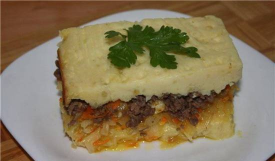Potato casserole with cabbage and minced meat