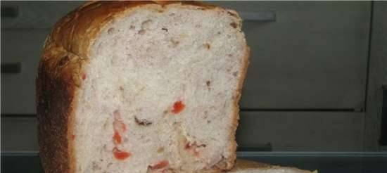Wheat bread with nuts and dried fruits in a bread machine