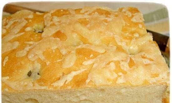 Focaccia with basil and cheese