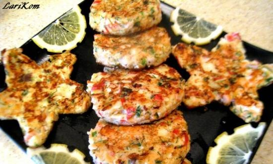 Salmon and crab meat pancakes