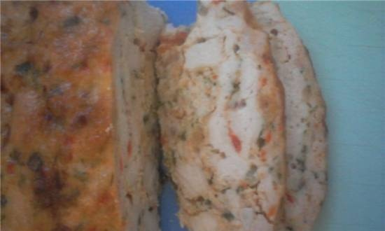 Chicken breast terrine with pepper and herbs