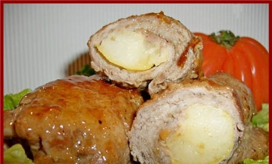 Meat rolls with pear