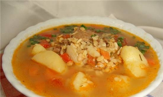 Soup with white and yellow mash
