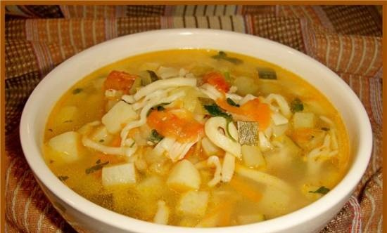 Soup with zucchini, celery and homemade noodles