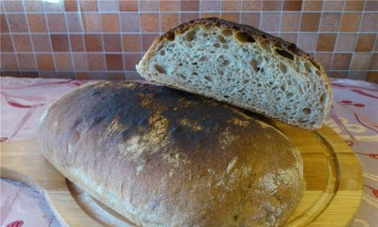 Ciabatta integrale, accelerated technology in 3.5 hours (oven)