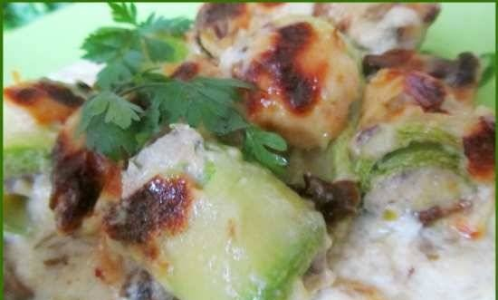 Zucchini rolls with minced meat and sauce