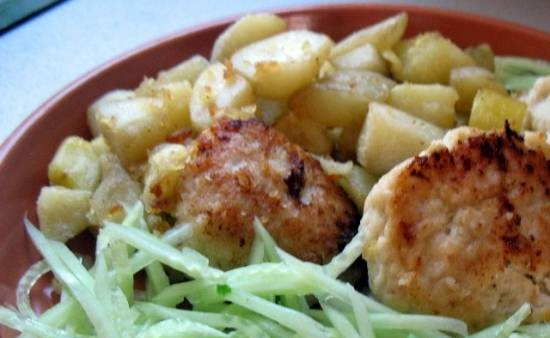 Cod cutlets with cottage cheese