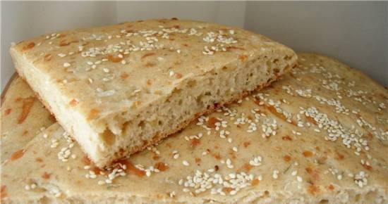 Wheat-rye flatbread with cheese, dill and onions