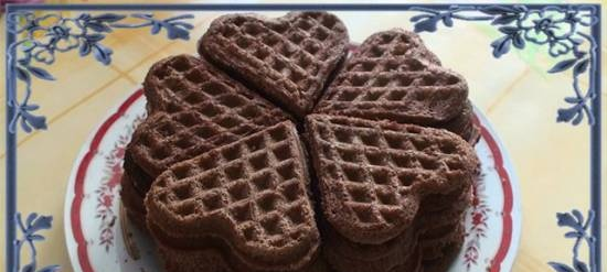 Chocolate shortbread cookies in a waffle iron