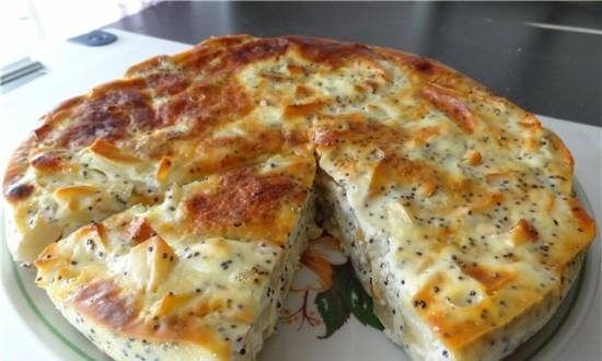 Cottage cheese and apple casserole with poppy seeds