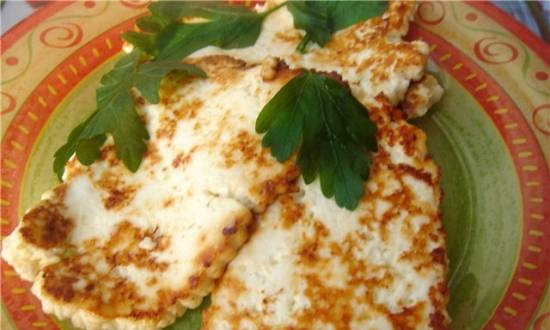 """Fried Adyghe cheese """"Easy quick supper"""""""