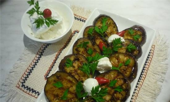 Eggplant marinated in ginger and honey