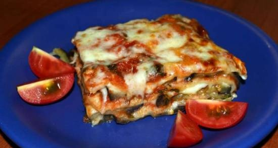 Lavash puff pie with eggplant and cheese
