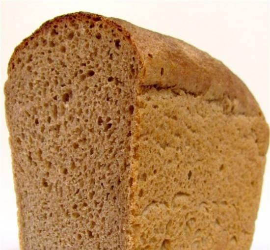 Brewed wheat-rye bread in the oven