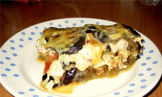 Eggplant baked with chicken fillet