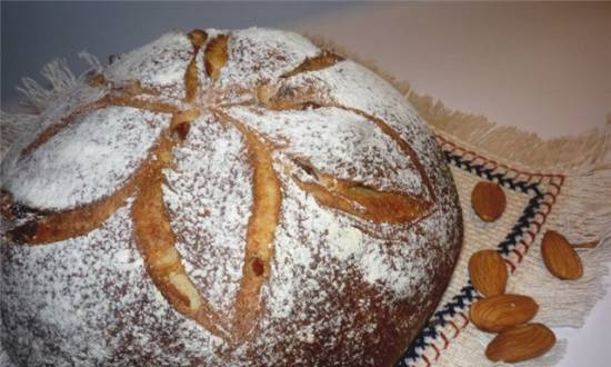 Bread with whole wheat flour, almonds and dried apricots for Sunday breakfast