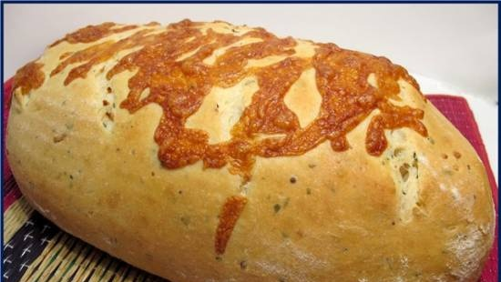 Cheese and onion loaf (in the oven)