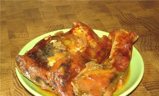 Fish stewed in the oven
