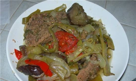Veal with vegetables in the oven
