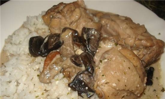 Chicken stew with mushrooms in sour cream in a multicooker Stadler Form