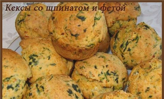Muffins with spinach and feta