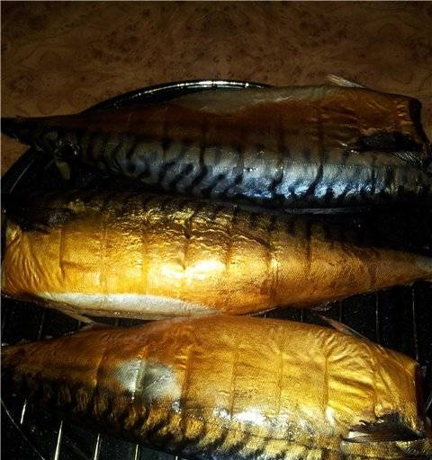 Hot smoked mackerel in a microwave or convection oven
