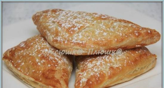 """French puffs Chaussons (Chausson aux pommes) or """"slippers with apples"""""""