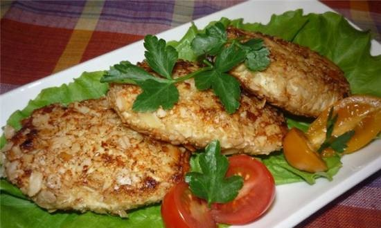Chicken cutlets with lentils and Feta cheese
