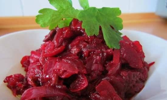 Beetroot caviar with dried mushrooms