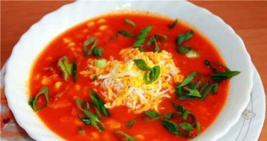 Tomato soup with corn and smoked meats