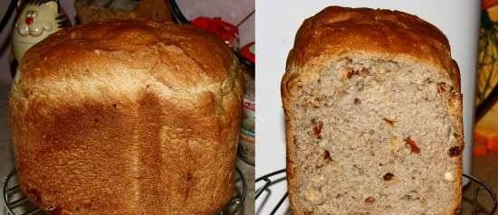 Bread with nuts, dried fruits and honey from 2 grade flour in a bread machine