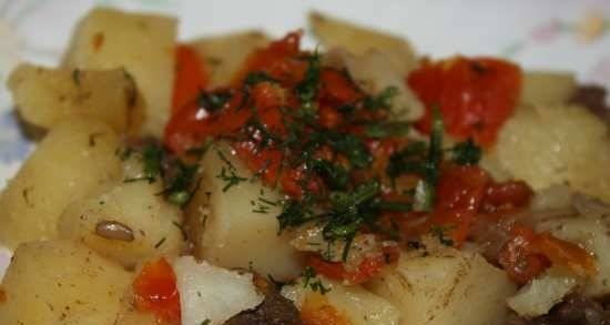 Stewed potatoes with meat and tomatoes in Oursson 5005 pressure cooker