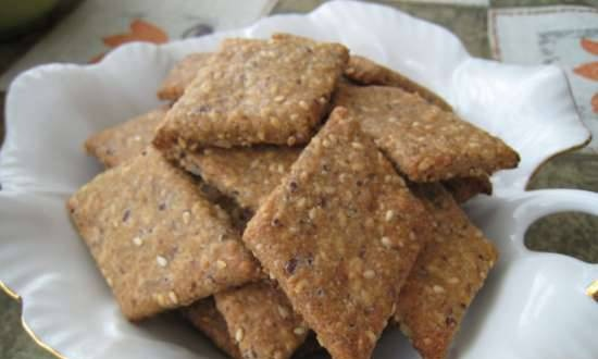 Whole grain crackers with sunflower, flax and sesame seeds (Peter Reinhart)