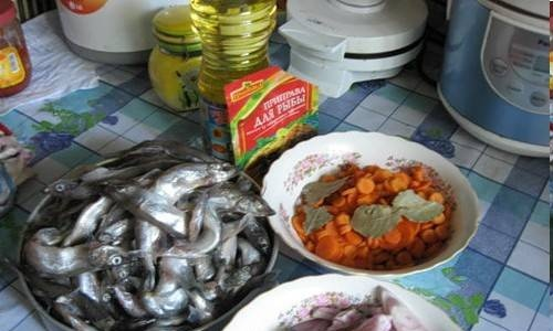 Capelin with vegetables