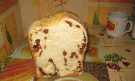 Sweet bread with raisins and honey in a bread machine